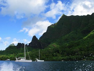June 2004: ADAGIO drops the hook in Cook Bay, Moorea, French Polynesia
