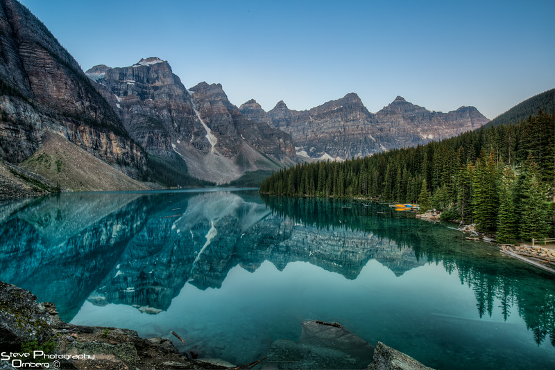 Moraine Lake before sunrise from the rock pile