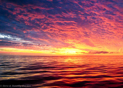 Sunset at sea in New Caledonian waters