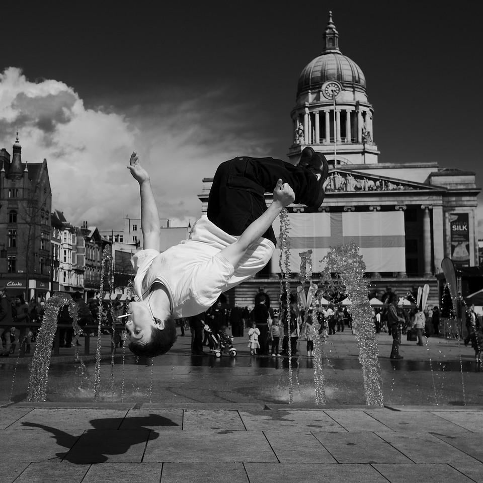<p><b><i>Jump!</i></b></p>  <p>Old Market Square, Nottingham, April 2012.</p>