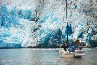 These sailors approach the glacier for a closer look
