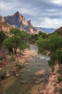 Zion: cloudy sundown over The Watchman