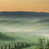 Morning Mist; Farm House; Belvedere; Val d'Orcia; Tuscany; Italy