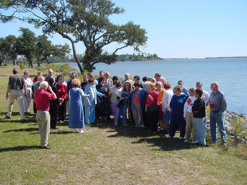 Reunion of former landowner families and descendants in October 2001 near site of Marines, N.C. at Courthouse Bay.