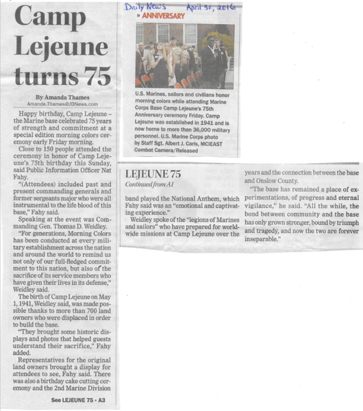 Jacksonville Daily News Article on Camp Lejeune 75th Anniversary