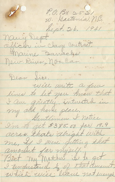K13 Letter from Mrs. Elva E. Bates pleading for more compensation (Part 1)