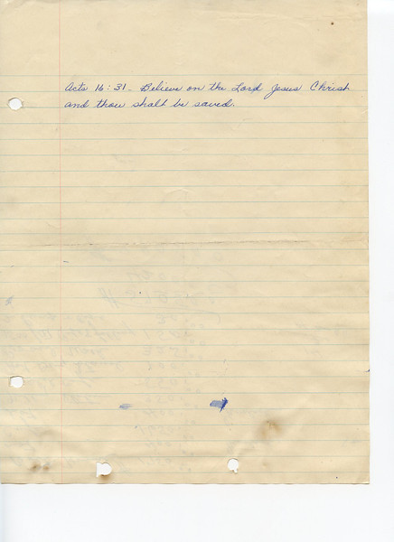 Reverse side of tally sheet shown in previous photo.