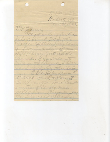 "C429 A letter from the ""Mother of Truesdale Church"" asking for their church building. She'd like a permit sent so there will be no trouble getting it out. It is one mile from Piney Green."