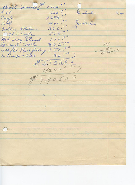 Tally of improvements made on a tract of business property on Hurst Beach owned by Mr. G.A. Locamy.  Reverse side of tally sheet shown in the next photo.