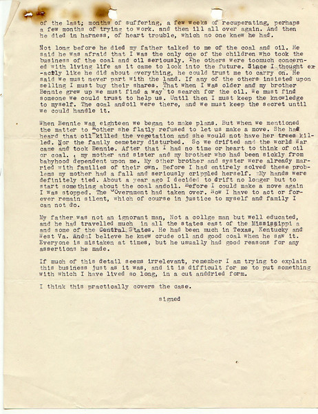 F10 Sally M. Willis, page 3 of her personal letter to the U.S.Government where she continues to plead her case to receive better compensation for their 151 acre farm. They received $1424.00.