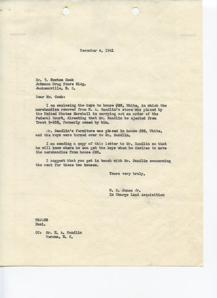"""Letter dated December 4 1941 in which W.R. Jones instructs Mr. T. Newton Cook where the belongings of Henry Sandlin's store may be found.  See the full story at:<br /> <a href=""""http://www.facebook.com/media/set/?set=a.10150224069771962.322286.368917676961"""">http://www.facebook.com/media/set/?set=a.10150224069771962.322286.368917676961</a>"""