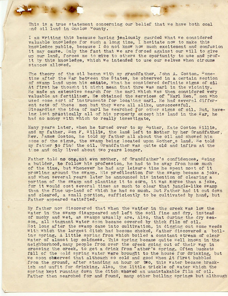 F10 Sally Mayfield Willis' personal letter, page 1 of 3, expressing in great detail her family's distress over the government paying such small amount for property that has coal and oil reserves.
