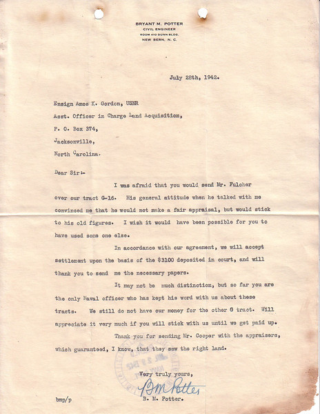Letter B.M. Potter to Amos K. Gordon expressing dissatisfaction over appraisal. <br /> Date: July 28 1942