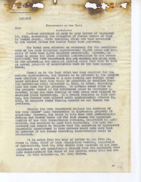 Response to the letter and petition of E.B. Smith protesting the appraisals and treatment by the Federal Government in September 1941.