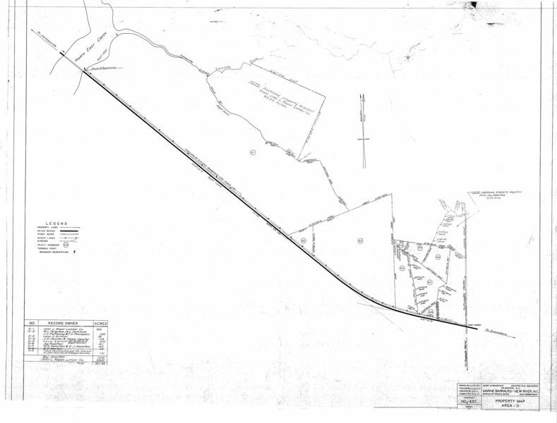 """AREA O  - Land acquired in Area O (across from the Piney Green Gate) was not kept and was returned to the owners. <a href=""""http://dl.dropbox.com/u/44666464/AREA-O.PDF""""> PDF</a>"""