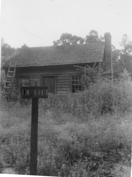 K-20 Durant H. Rhodes - This old 20 ft. x 20 ft. dwelling was valued at $75.00. This house plus 31 acres and its timber brought a compensation of $530.00. The property was located between Montford Road and Whitehurst Creek.  Permission was given on 11-18-41 to remove house but delayed in moving and it eventually burned down.