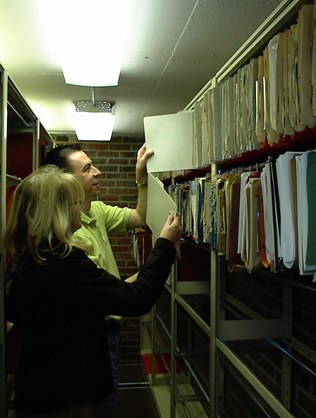 Tim Hartsfield and sister Phyllis pulling files in the archive vault in 2005.