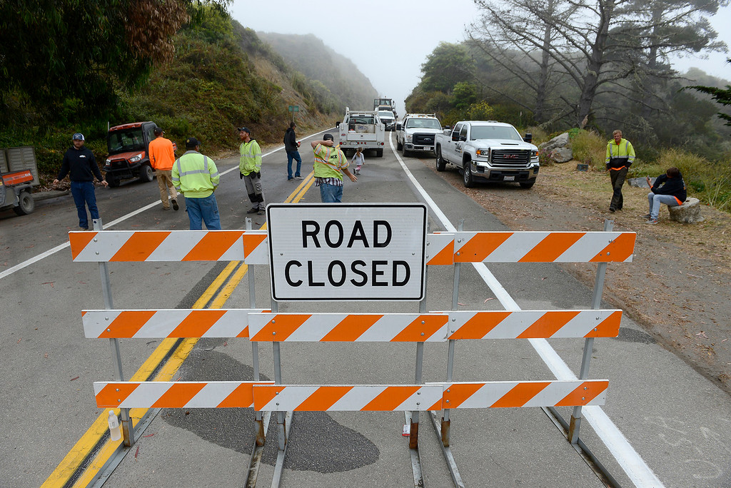. The new section of Highway 1 at the Mud Creek slide south of Big Sur was reopened after more than a year of being closed on Wednesday, July 18, 2018.  (Vern Fisher - Monterey Herald)