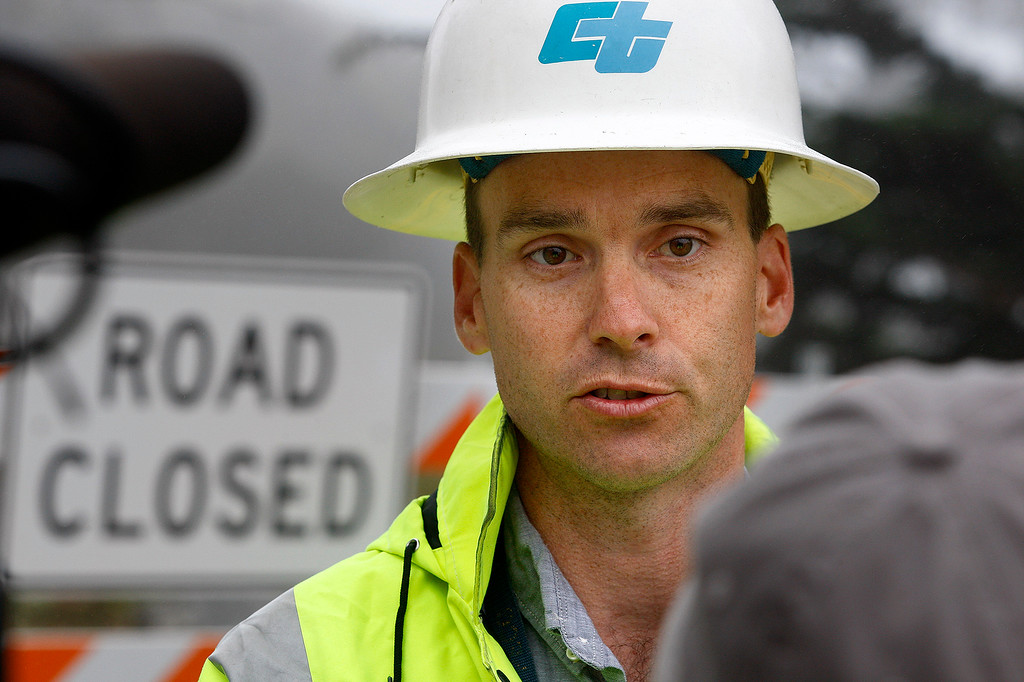 . Joe Erwin, project manager with Caltrans speaks with the media prior to the new section of Highway 1 at the Mud Creek slide south of Big Sur being reopened after more than a year of being closed due to a massive landslide on Wednesday, July 18, 2018.  (Vern Fisher - Monterey Herald)