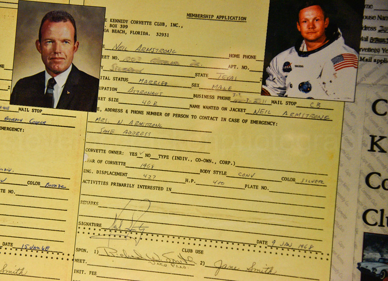 Neil Armstrong's application form for a Corvette. Corvette Museum, Bowling Green, Kentucky.