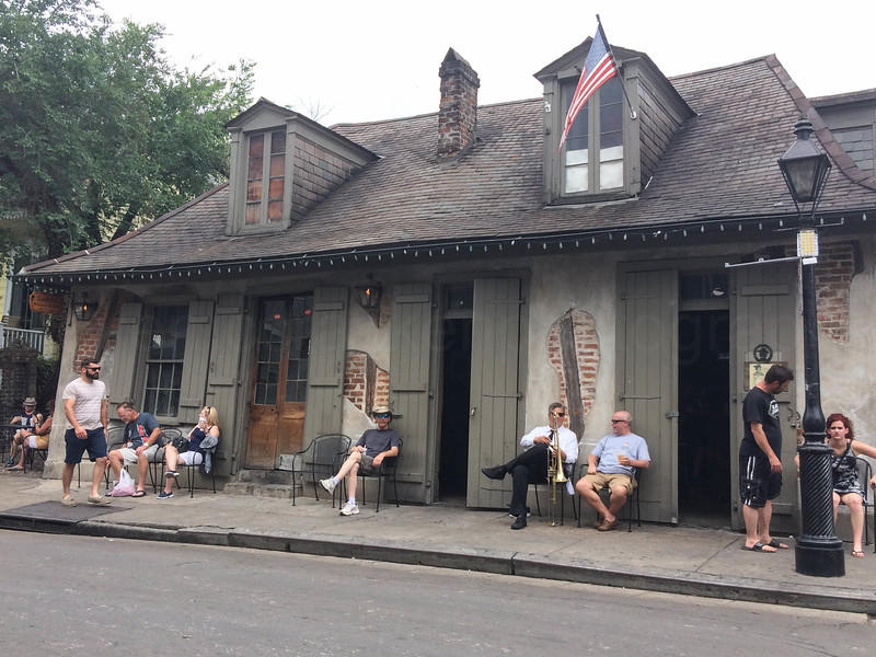 The oldest bar in the USA, Lafitte Blacksmiths at the end of Bourbon Street, New Orleans.