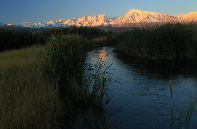 Owens River and Eastern Sierra near Bishop, at sunrise