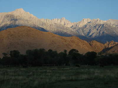 Alabama Hills and Eastern Sierra at sunrise from Lone Pine
