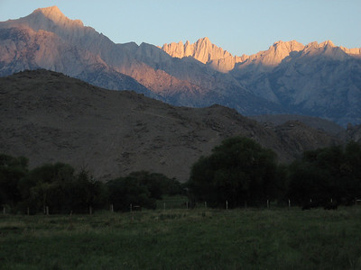 Mt. Whitney (center) at sunrise from Lone Pine