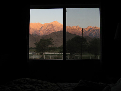 Sunrise on Mt. Whitney and Eastern Sierras from Comfort Inn motel room