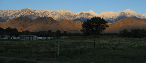 Eastern Sierra and Alabama Hills at sunrise from Lone Pine