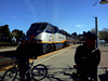 We took the San Joaquin Amtrak from Richmond to Martinez.  They had bike racks inside the train car.