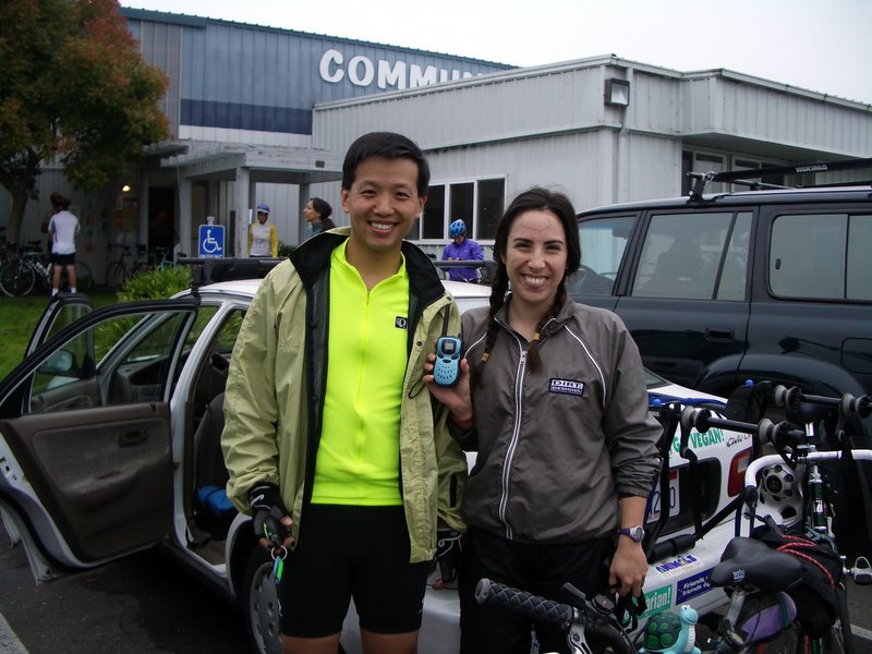 Just before starting the 67-mile Tour D'Organics loop!  We had 2-way radios but no batteries so they were just extra weight.  Which reminds me ... Erhhung, I forgot to give you your 2-way radio back!