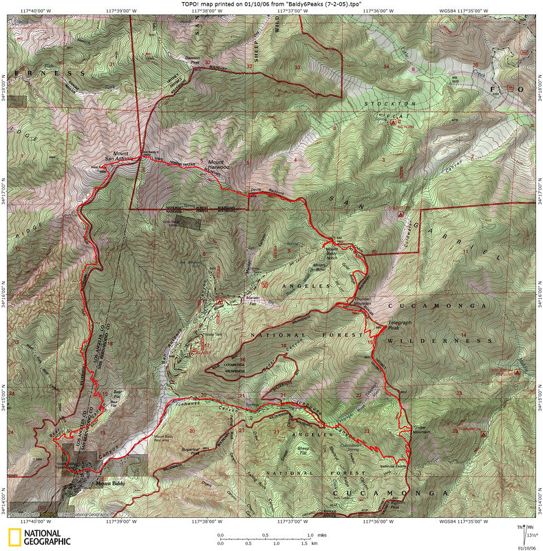 The route.  We started at the Icehouse Canyon parking lot and walked down the road to the Village.  Then up BEar Canyon to West Baldy, Baldy, and Harwood.  After a lunch stop at the lodge, it was the 3Ts trail to Thunder, Telegraph, and Timber.  Then down Icehouse Canyon.