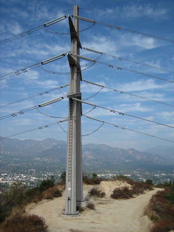 The Viper Trail starts just above this high voltage tower, which is at the top of the fire road above Mesa Lila street.  In the background are the San Gabriels above La Crescenta.