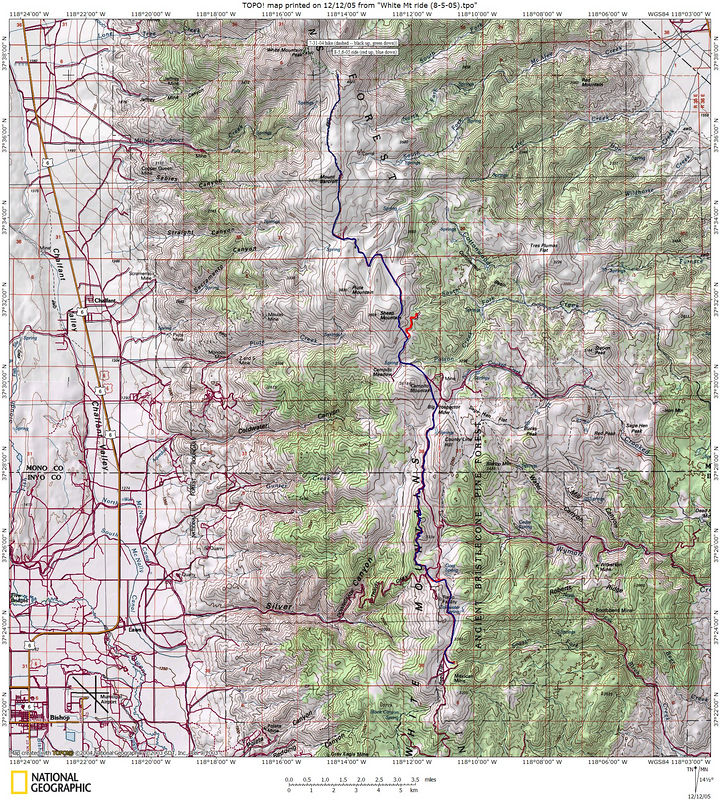 Topo map with GPS track.  Red is out, blue is back.  The diversion to Patriarch Grove was at about 9 PM -- we slept next to the picnic tables.  Otherwise, it was out and back.