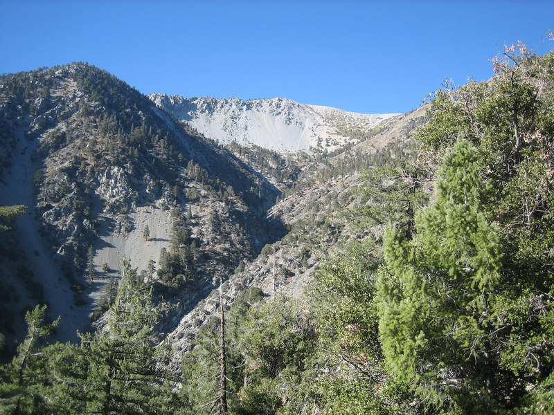 View up the canyon towards Ski Hut and Mt. Baldy