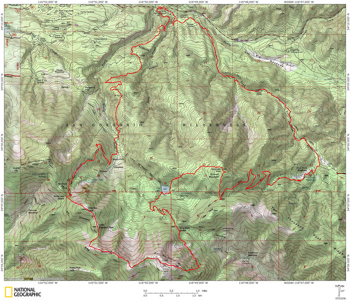 The route starts near the top of the map and proceeds clockwise.  The second day began on the summit of San Gorgonio.