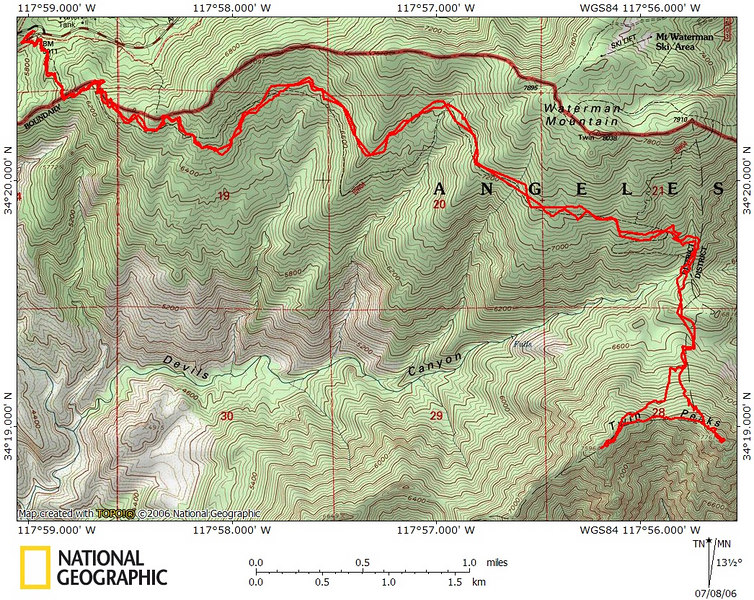 GPS trace -- we went up the eastern peak first, then the west one.  Otherwise, the hike was a straightforward out and back.  We originally planned to bag Waterman, but we got a late start and needed to get home.