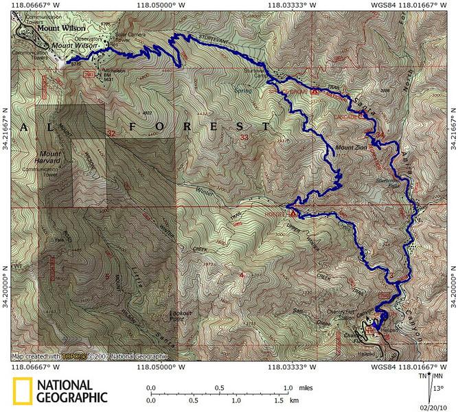 Mt Wilson via Chantry Flat 2-20-10 track