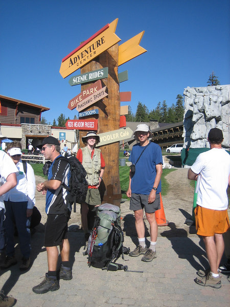 We picked up our JMT permits in Mammoth and took the shuttle to the trailhead to begin the backpacking portion of our adventure.  Here we are in line for the shuttle bus.