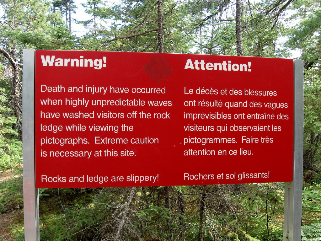 Warning!  Death and Injury!  The over-dramatic signs on popular trails always make me smile...