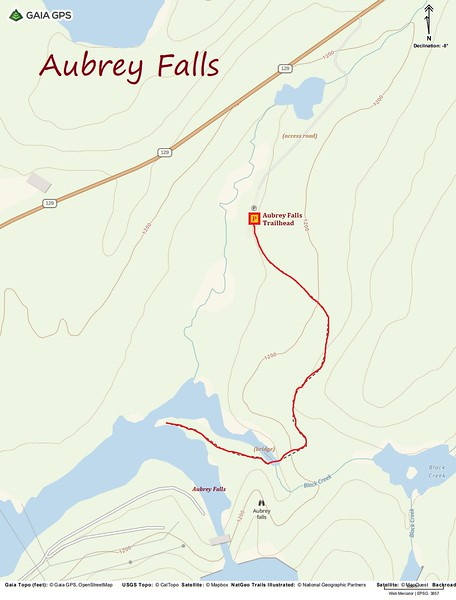 Aubrey Falls Hike Route Map