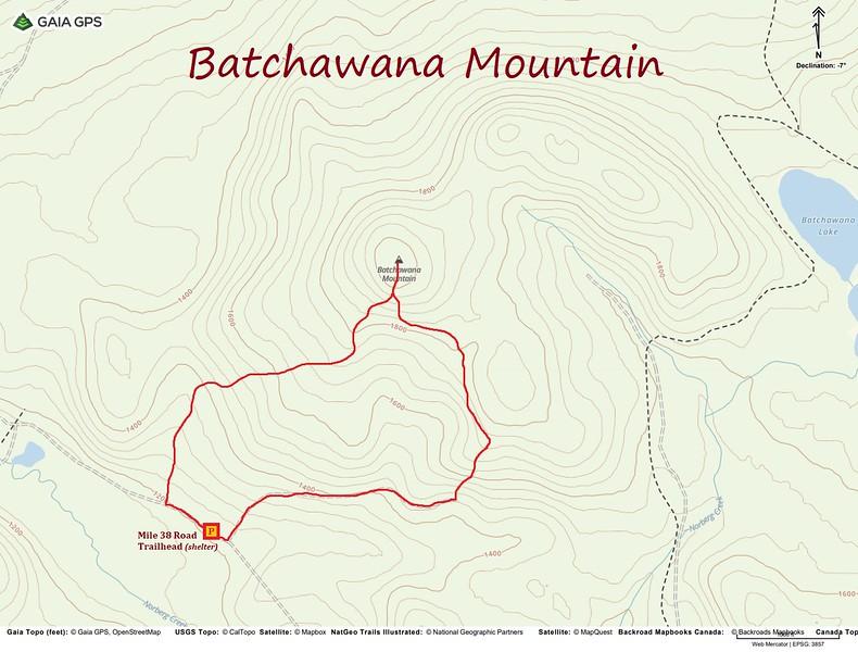 Batchawana Mountain Hike Route Map