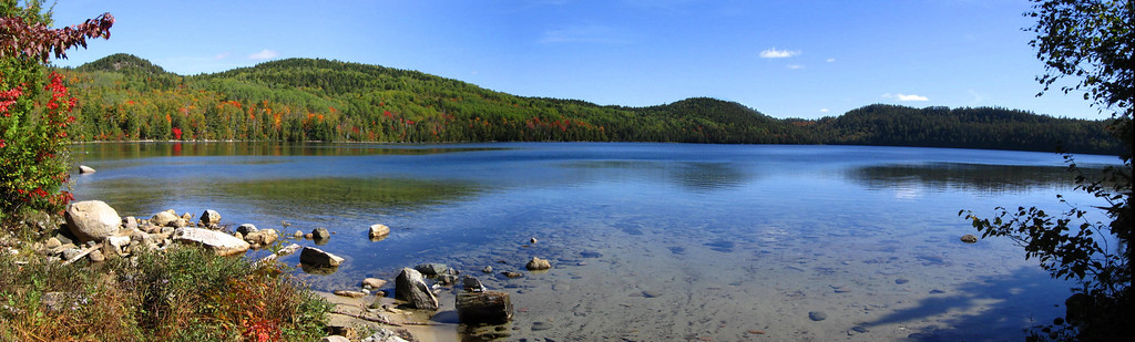Cobre Lake Panorama - My hike would begin by climbing Mt. Belvedere, high hill to the left.  About 7-miles later I'd end up emerging from the woods in the shallow valley to the right of center...