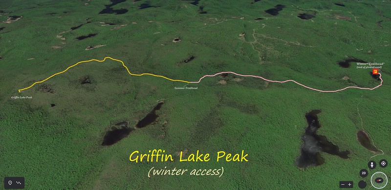 Griffin Lake Peak Winter Hike Route Map