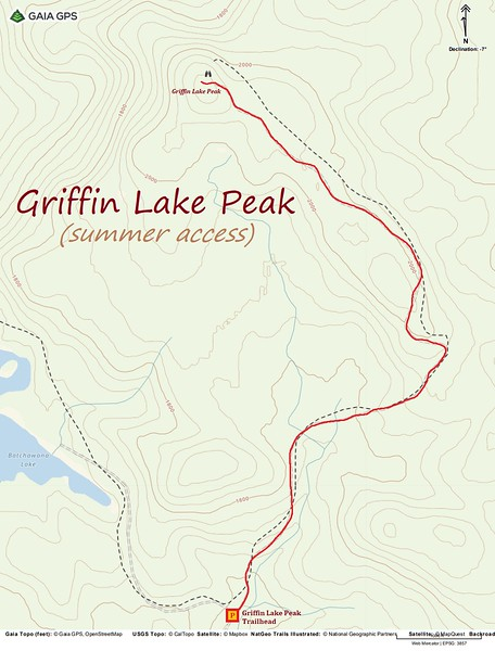 Griffin Lake Peak Hike Route Map