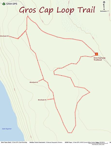 Gros Cap Loop Trail Hike Route Map