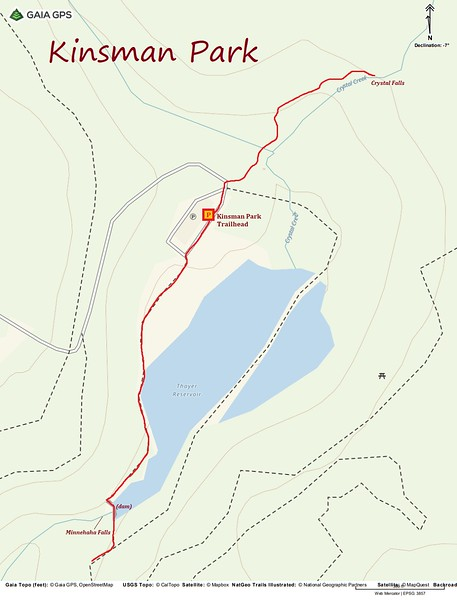 Kinsman Park Hike Route Map