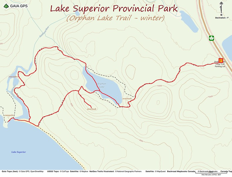 Orphan Lake Trail Hike Route Map