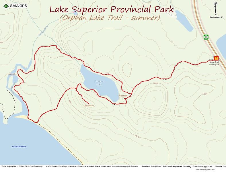 Orphan Lake Trail Hike Route Map